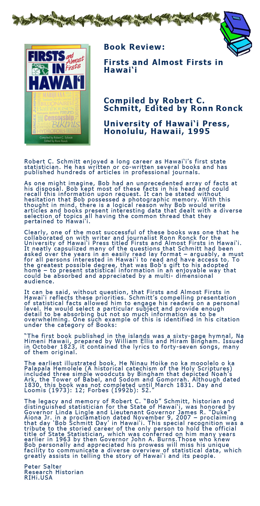 Firsts and almost firsts in Hawaii by Robert Schmidt book review.